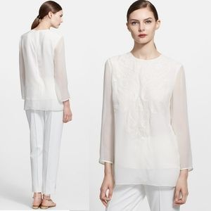 NWOT  Escada Embroidered Silk Blouse